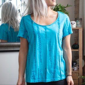 Blue Tie-Dye Sequined Shirt Sleeve Shirt